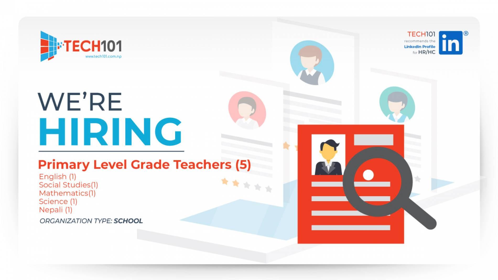 "Primary Level Grade Teachers (5)""English (1) Social Studies(1) Mathematics(1) Science (1) Nepali (1)"""