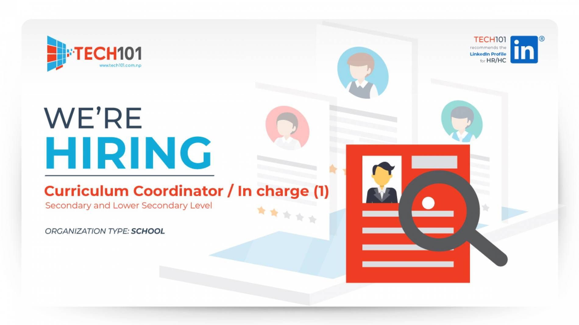 Curriculum Coordinator / In charge (1), Secondary and Lower Secondary Level